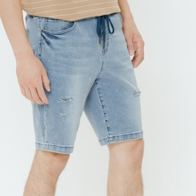 H:CONNECT 韓國品牌 男裝-鬆緊抽繩牛仔短褲-藍