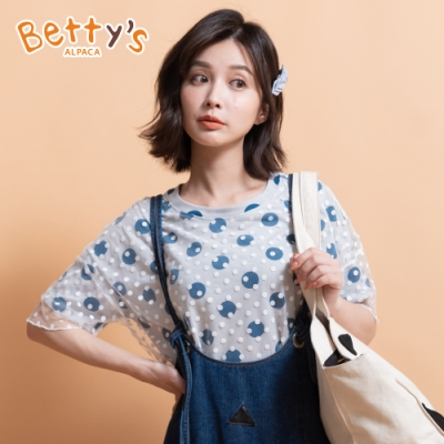 betty's貝蒂思 圓點蕾絲百搭T-shirt(淺灰)