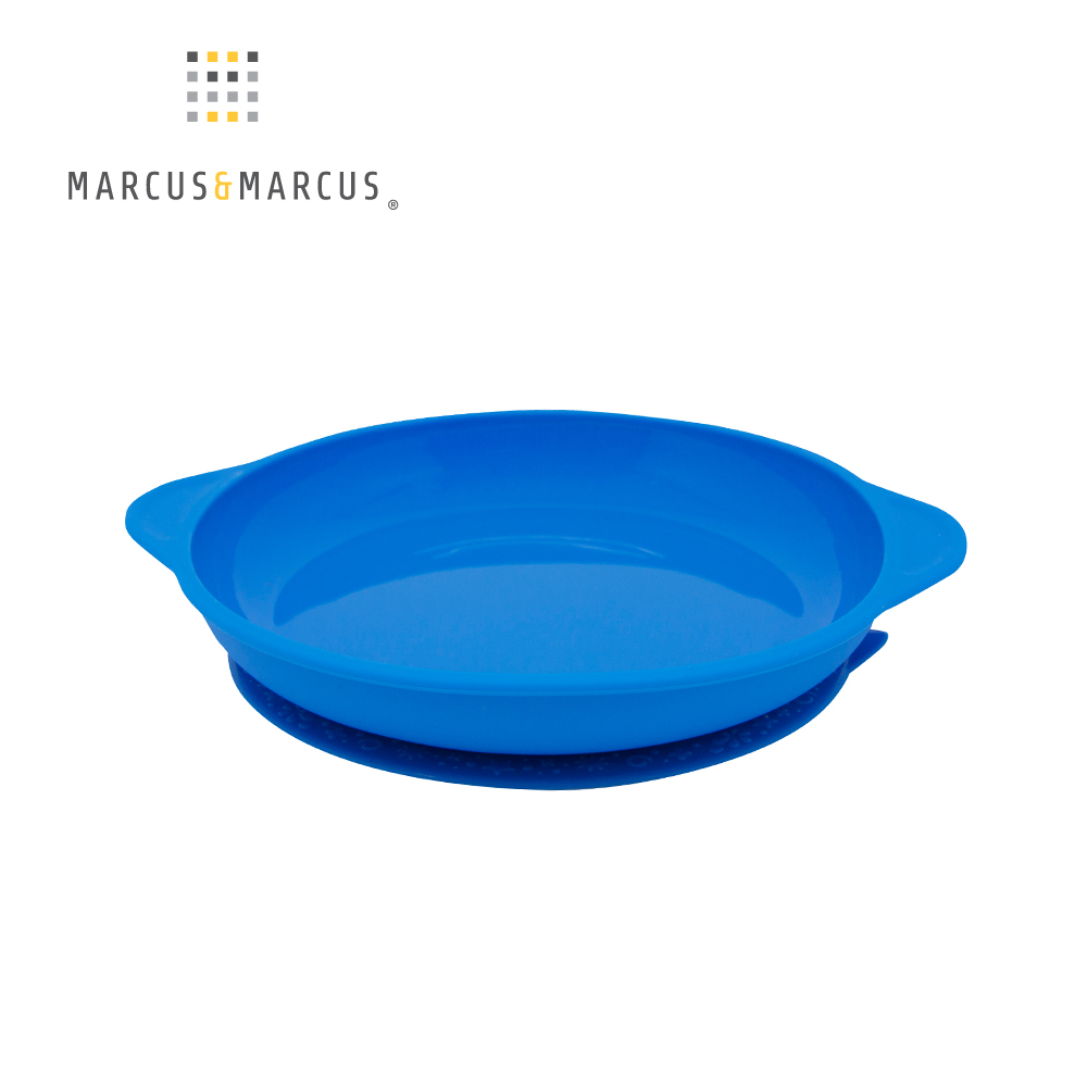 【MARCUS&MARCUS】動物樂園幼兒學習吸力餐盤-河馬(藍)