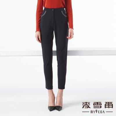 【麥雪爾】極簡口袋車線造型八分褲