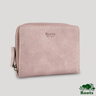 Roots拉鍊壓扣皮革皮夾-粉色