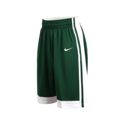 NIKE 男籃球針織短褲-路跑 慢跑 訓練 五分褲 綠白