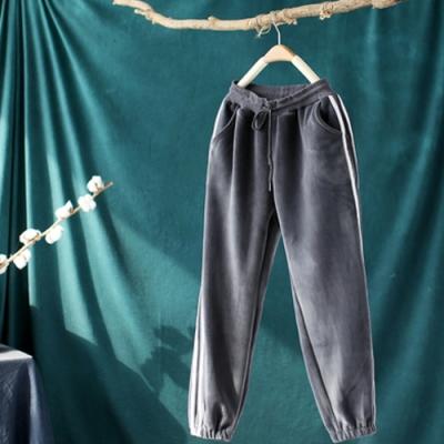 軟糯雙面絨側條紋加絨寬鬆束腳哈倫長褲-設計所在