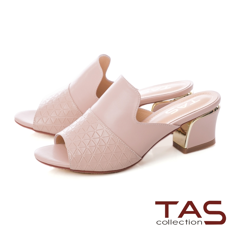 TAS 質感菱格紋金屬粗跟涼拖鞋-迷人粉