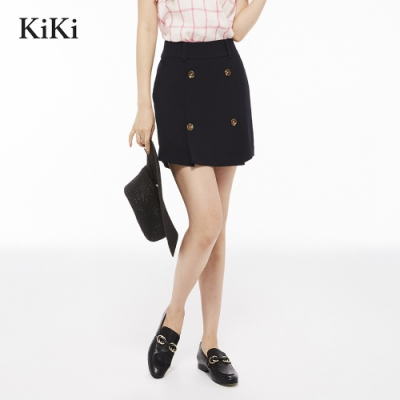 新降【Kiki】雙排扣顯瘦-裙褲(黑色)