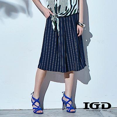 IGD英格麗 簡約直條紋寬口褲-深藍