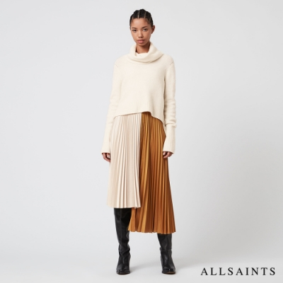 ALLSAINTS JESSIE 優雅迷人不規則下擺兩件式中長版連身裙洋裝-雪白