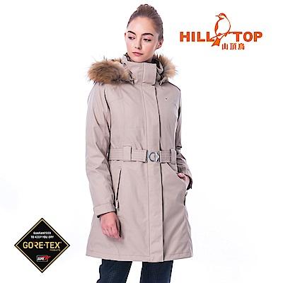 【hilltop山頂鳥】女款GORETEX兩件式防水羽絨長大衣F21F78褐卡其