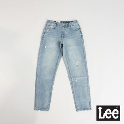 Lee 413合身高腰 小直筒刷破牛仔褲 女款 淺藍