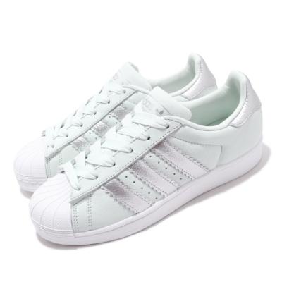 adidas 休閒鞋 Superstar W 復古 低筒 女鞋 海外限定 愛迪達 三葉草 貝殼頭 皮革 綠 銀 CG6452