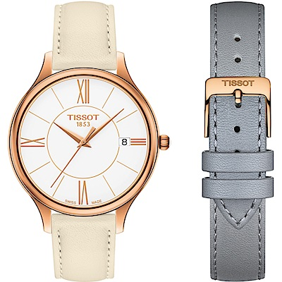 Tissot 天梭臻時系列時尚腕錶(T1032103601800)38mm