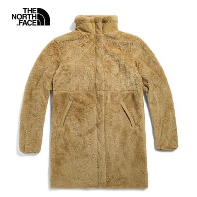 The North Face北面UE女款卡其色立領長版抓絨外套|4U76H7E