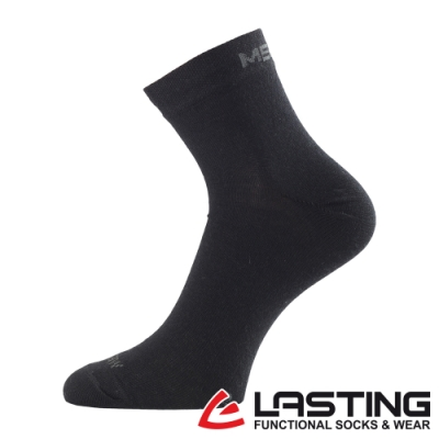 【LASTING捷克】男款美麗諾羊毛抗菌除臭吸濕排汗短襪/薄襪LT-WHO黑
