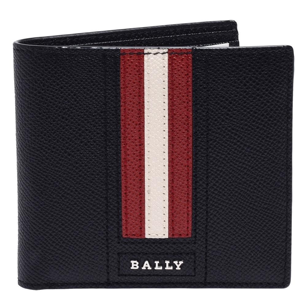 BALLY 經典紅白紅條紋荔枝紋牛皮摺疊包短夾(黑X紅)