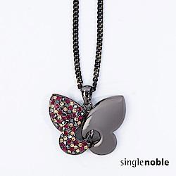 獨身貴族 童趣蝴蝶不對稱造型鑽飾項鍊(1色)