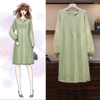 俏麗小V領燈籠袖針織毛衣洋裝L-4XL(共二色)-KVOLL