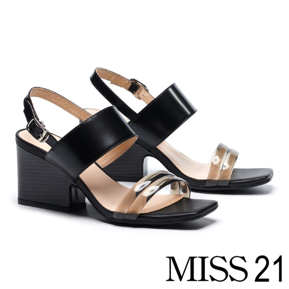 涼鞋 MISS 21 時髦透明條帶方頭粗跟涼鞋-黑