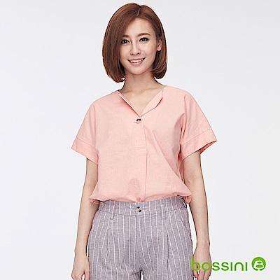 bossini女裝-棉麻開襟短袖罩衫01粉橘