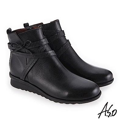 A.S.O 絕佳質感 真皮鞋面心機美靴 黑