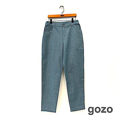 gozo 品牌標語條寬版棉麻長褲(二色)