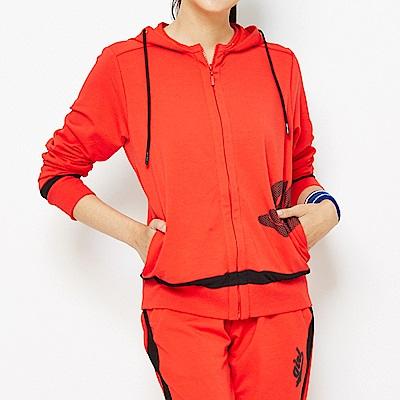 【 TOP GIRL】獨特網格印花- 吸濕排汗休閒針織連帽外套-亮紅