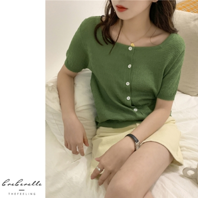 2F韓衣-韓系氣質素色排扣造型上衣-4色(F)