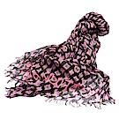 LV 經典Leopard Stole系列品牌字母LOGO豹紋羊絨混絲披肩/絲巾(粉X黑)
