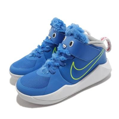 Nike 籃球鞋 Team Hustle D 9 LIL 童鞋 海外限定 避震 包覆 魔鬼氈 中童 球鞋 藍 黃 CT4063-400