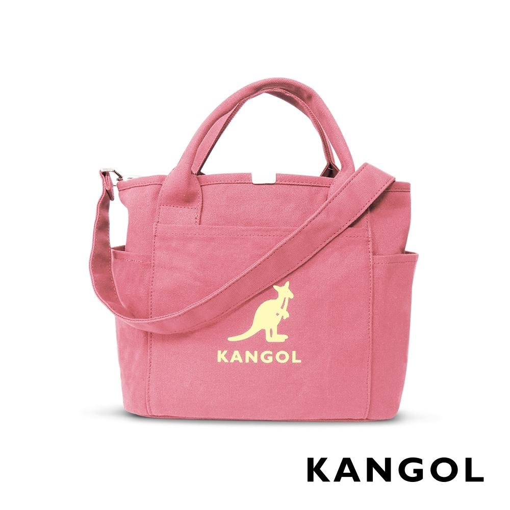 福利品 KANGOL 韓版玩色-帆布手提/斜背托特包-灰粉