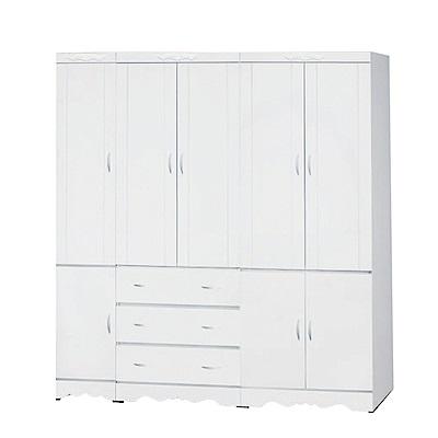 綠活居 卡比夫法式白6.3尺八門三抽衣櫃(吊衣桿+穿衣鏡)-190x57x200cm-免組