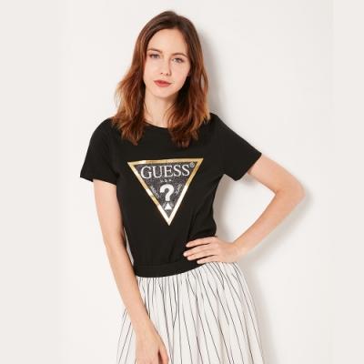 GUESS-女裝-閃亮經典倒三角logo短T-黑