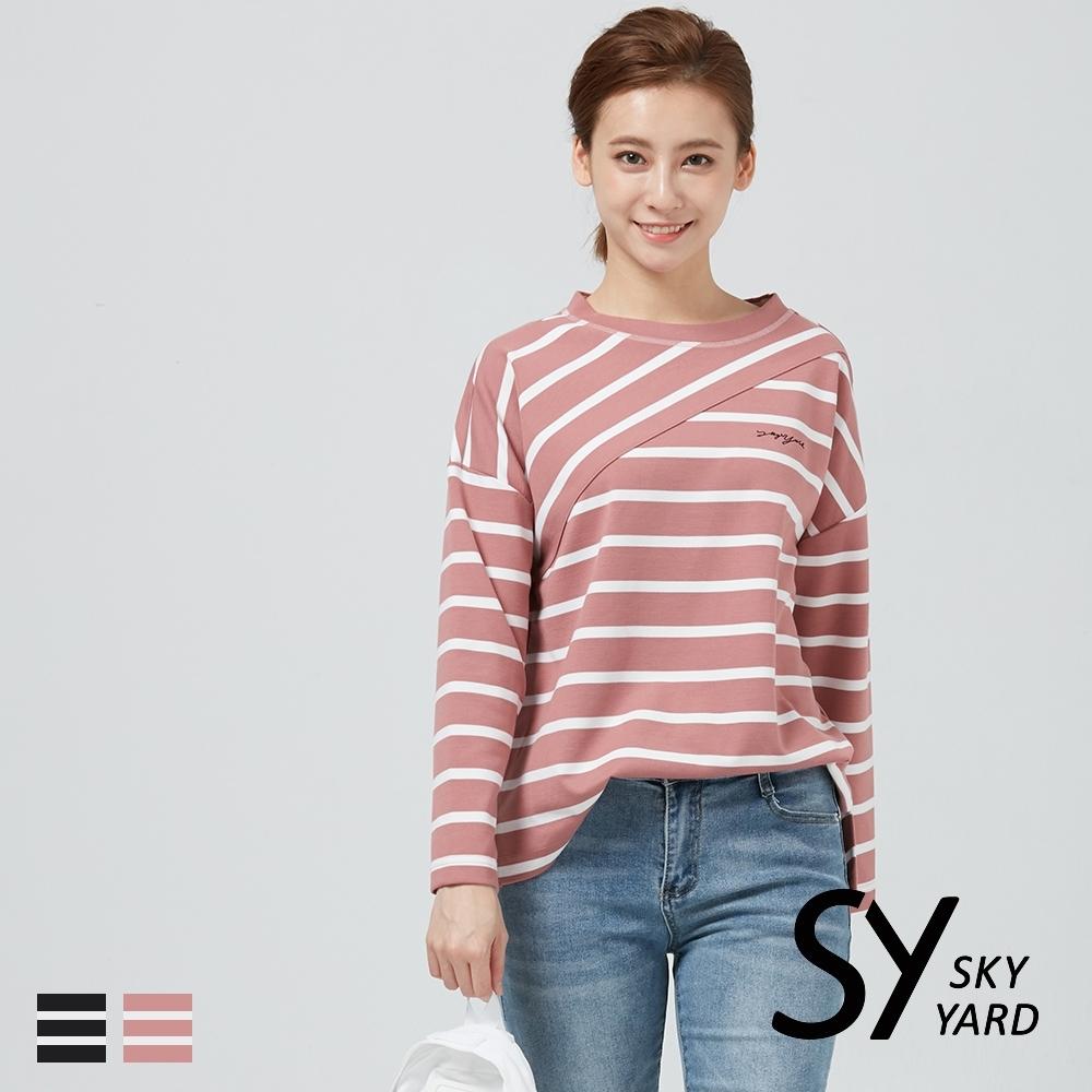 【SKY YARD 天空花園】條紋斜剪拼接長袖上衣-紅白