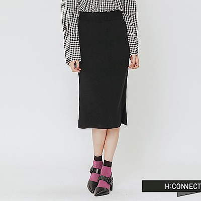 H:CONNECT 韓國品牌 女裝-側開岔針織中長裙-黑