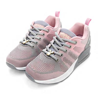 PLAYBOY簡約生活 針織綁帶氣墊休閒鞋-灰粉