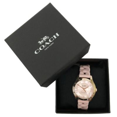 COACH 經典LOGO 錶面編織果凍錶帶女用手錶(櫻花粉)
