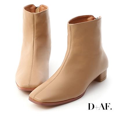 D+AF 簡約率性.後拉鍊方頭小低跟短靴*杏