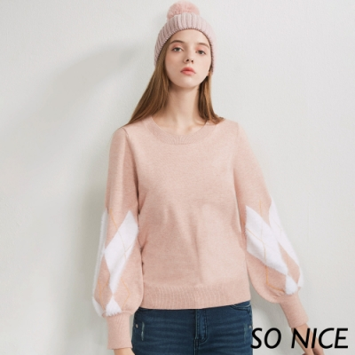 SO NICE簡約毛絨格紋針織上衣