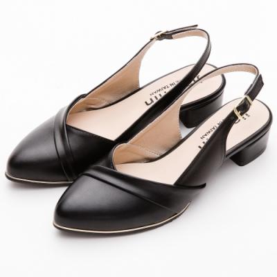 River&Moon跟鞋 台灣製交叉拼接後拉帶尖頭跟鞋 黑