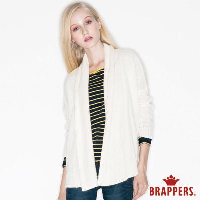 BRAPPERS 女款 垂墜落肩針織外套-米白
