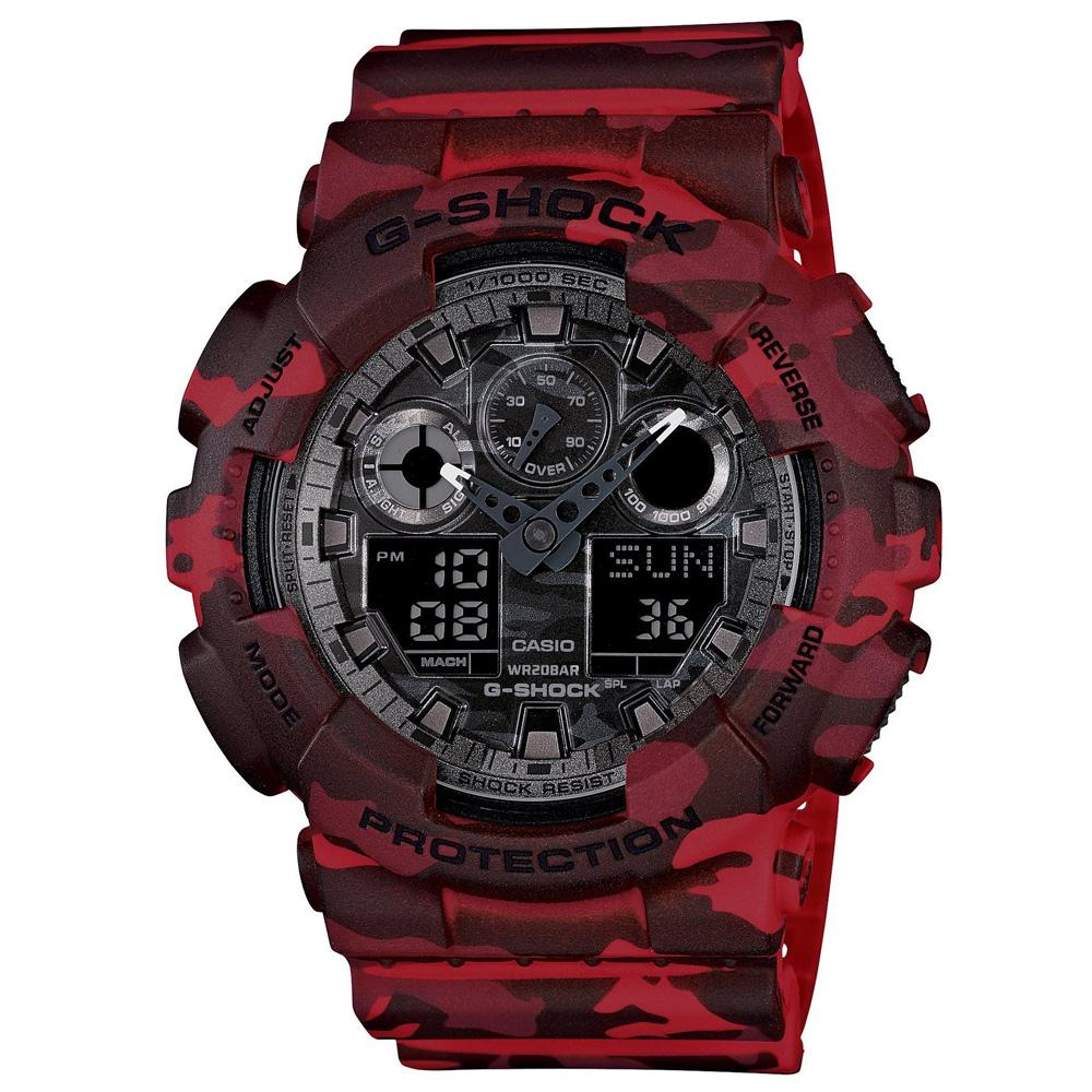 G-SHOCK 秋冬時尚魅力迷彩新色休閒運動錶(GA-100CM-4A)-紅X黑灰/51.2mm