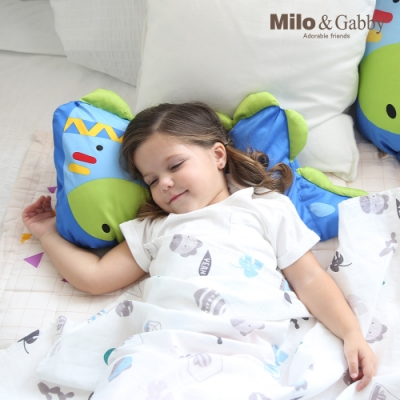 Milo&Gabby動物好朋友-可水洗防蹣mini幼童枕心+枕套組-1歲以上(Dylan印第安恐龍)