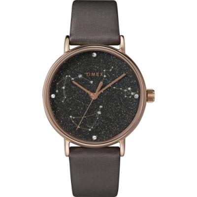 TIMEX 天美時 復刻系列 Swarovski星象手錶-極光鈦色37mm
