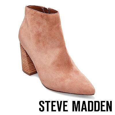 STEVE MADDEN-SIMMER復古粗跟尖頭短靴-絨灰