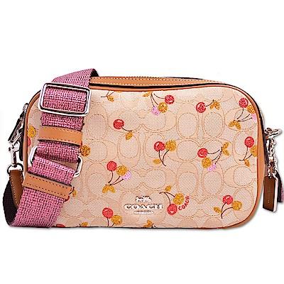 COACH 經典滿版LOGO皮革拼接織布亮彩寬肩帶櫻桃相機包/斜背包-卡其x棕