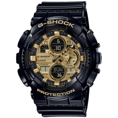 CASIO 卡西歐G-SHOCK雙顯耐衝擊構造防磁錶-金(GA-140GB-1A1)