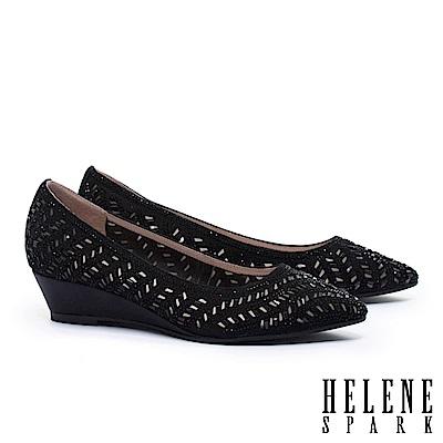 高跟鞋 HELENE SPARK 晶鑽鏤空沖孔羊麂皮楔型高跟鞋-黑
