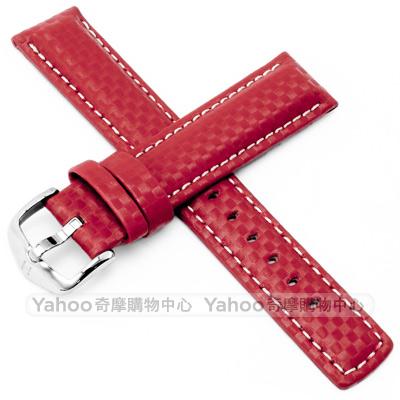 海奕施 HIRSCH Carbon L 碳纖維皮革錶帶-紅