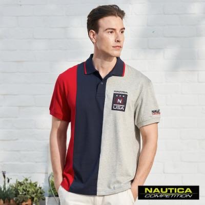 Nautica COMPETITION三色拼接短袖POLO衫-紅灰