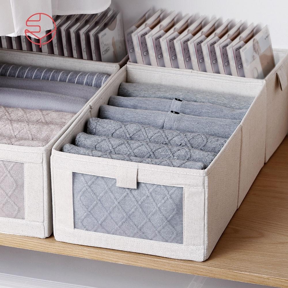【日本霜山】棉麻布摺疊式分類收納盒(附透窗)-L