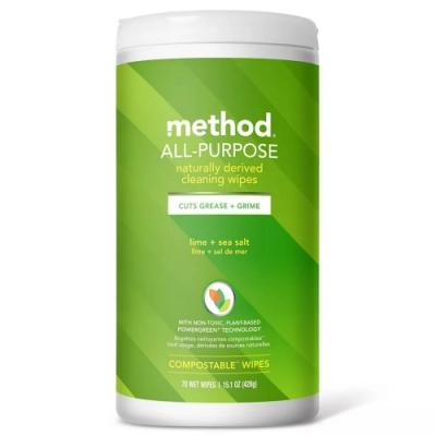 Method 美則 全效居家清潔濕紙巾-萊姆海鹽 70入